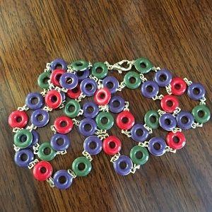 Enamel Link Necklace Multi Colored